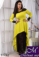 Женское платье оливкового цвета с гипюром в пол (48, 50, 52, 54) арт. 11742