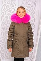 Детская зимняя куртка парка для девочки с мехом