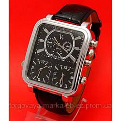 """Мужские молодежные часы на кожаном ремне, прямоугольной формы в металлическом корпусе """"Сейдозерит"""""""