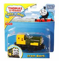 Оригинал Fisher-Pricе The Train Айрон Берт серия Take-n-Play Iron Bert Toy Tr