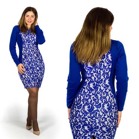 Платье электрик 15596Б, большого размера, фото 2