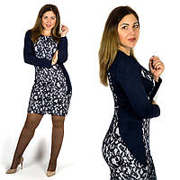 Темно-синее платье 15596Б, большого размера