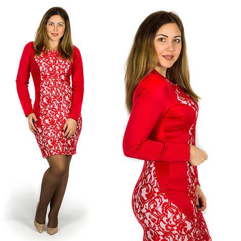 Красное платье 15596Б, большого размера, фото 2