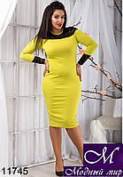 Изысканное женское платье цвета олива (48, 50, 52, 54) арт. 11745