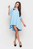 Оригинальное асимметричное платье-колокол голубого цвета