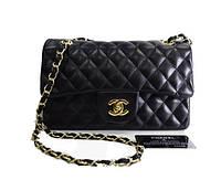 Брендовая сумка Chanel Шанель черная клетка среднего размера