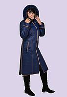 Женственное зимнее пальто – пуховик  Модель 16 в 52 – 60 размерах с песцовой опушкой