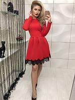 Красивое красное коктейльное платье