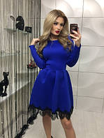 Красивое  коктейльное платье электрик