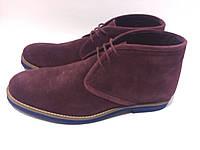 Мужские ботинки замшевые бордового цвета, фото 1