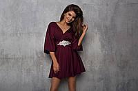 Платье женское нарядное,  ткань кристалл, украшение с камнями, цвет бордо , супер качество ля № интига