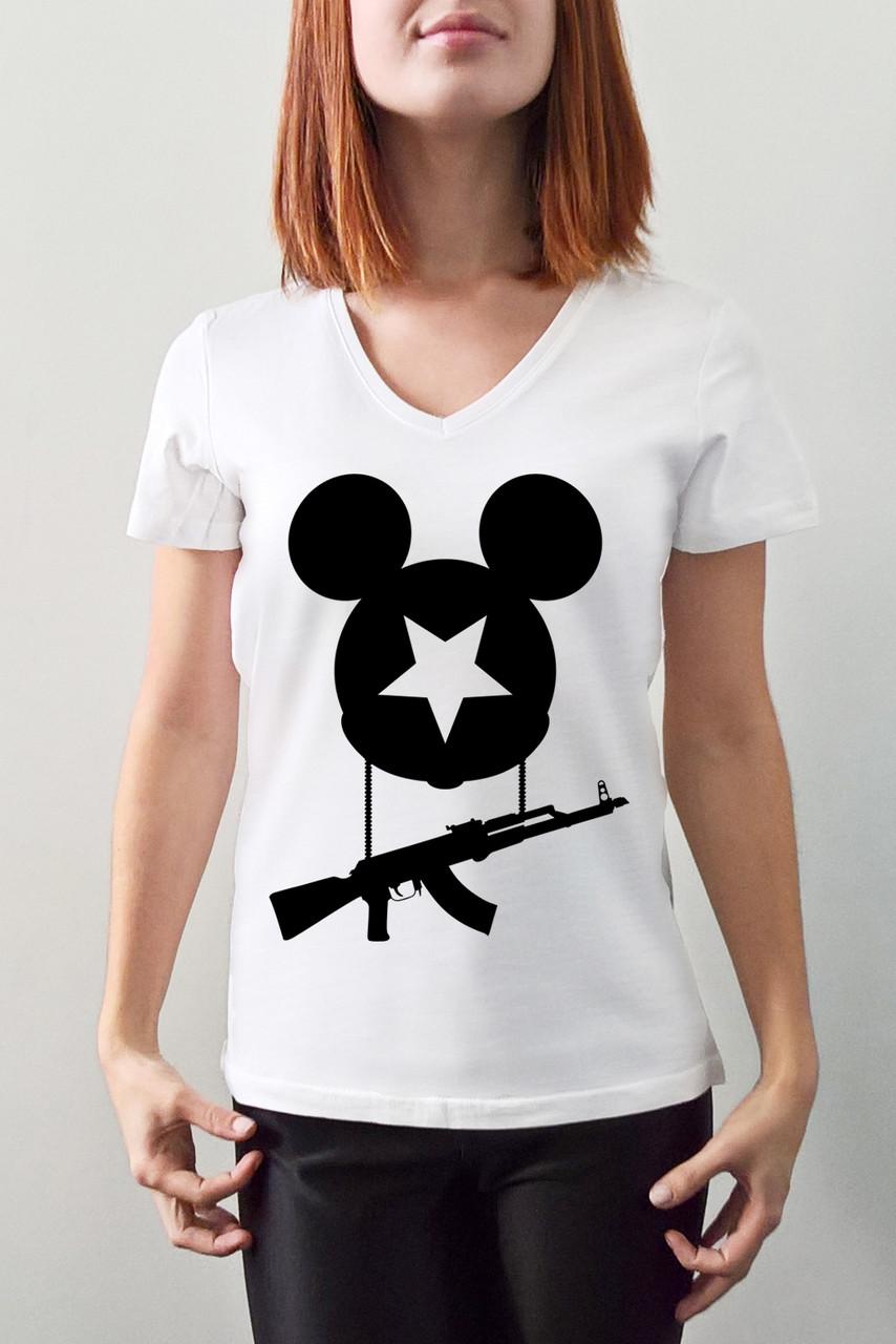 """Женская футболка """"Микки с АК"""""""