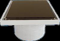 Надставка для трапа cо стеклянной решеткой или под плитку (BROWN) 150х150 мм STY-505-GFB