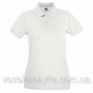 Белая женская футболка поло (Премиум)