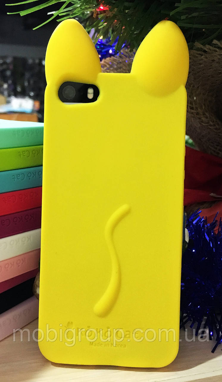 Силиконовый чехол Ушки Кошки CoCo Cat iPhone SE/5S/5, желтый