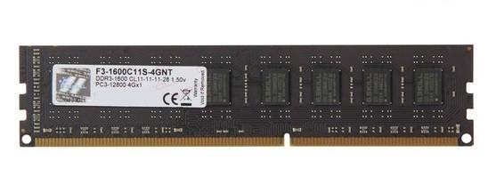 Оперативная память для компьютера 4Gb DDR3, 1600 MHz (PC3-12800), G.Skill, 11-11-11-28, 1.5V (F3-1600C11S-4GNT)