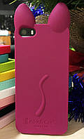 Силиконовый чехол Ушки Кошки CoCo Cat iPhone SE/5S/5, бордовый