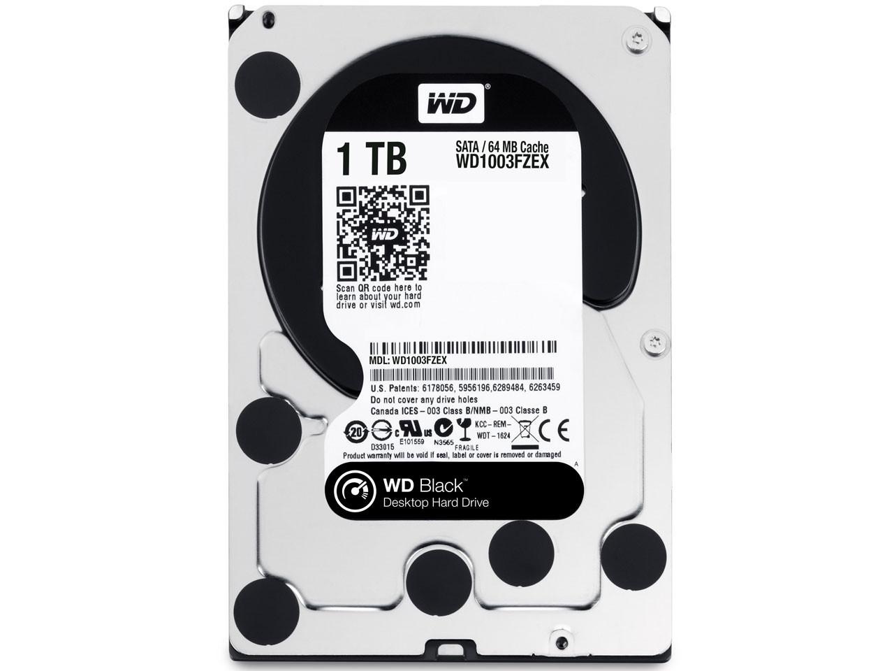 Жесткий диск для компьютера 1 Тб Western Digital Black, SATA 3, 64Mb,