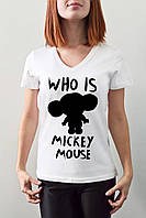 """Женская футболка """"Who is mickey mouse"""""""