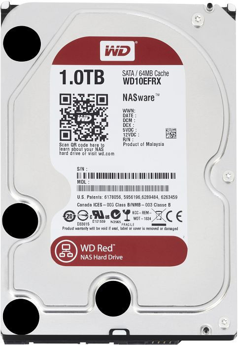 Жесткий диск для компьютера 1 Тб Western Digital Red, SATA 3, Cache 64