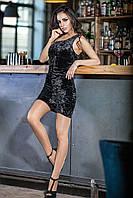 Женское велюровое платье на одно плечо Retro