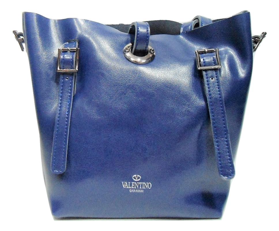 eae6f7c70bf5 Удобная женская сумка из натуральной кожи синего цвета VALENTINO, GDG-730221