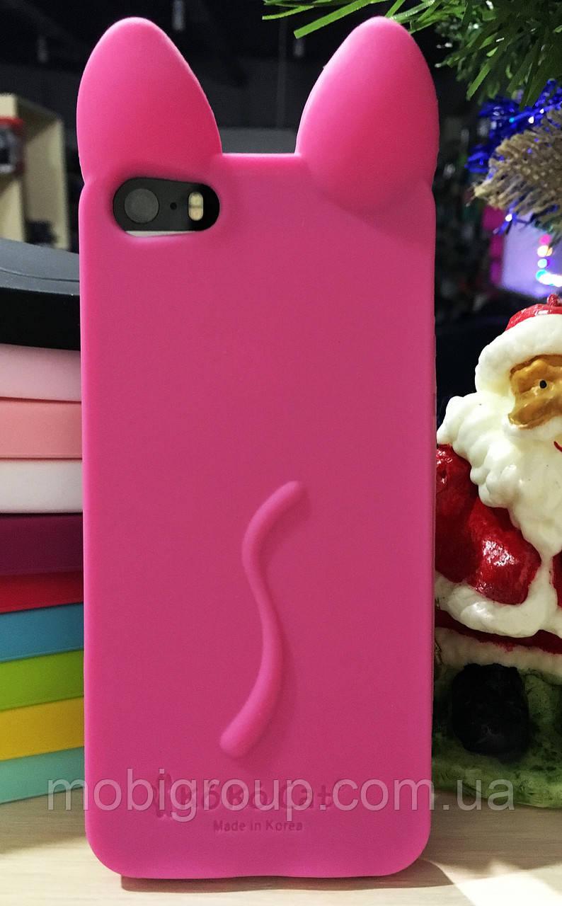 Силиконовый чехол Ушки Кошки CoCo Cat iPhone SE/5S/5, розовый