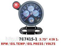Тюнинговый автомобильный прибор Ket Gauge 7C 7415 тахометр+t воды+давление масла+вольтметр
