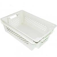 Ящик пластиковый дно сплошное стенки перфорированные белый  (пищевой)