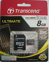 Карта памяти Transcend micro SD 8GB class 10 SD адаптер