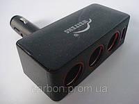 Разветвитель автомобильного прикуривателя F 909 тройник с USB и подсветкой, фото 1