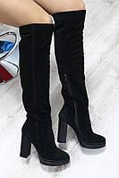 Демисезонные  женские сапоги ботфорты на каблуке черные