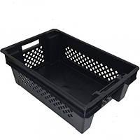 Ящик пластиковый дно сплошное стенки перфорированные черный