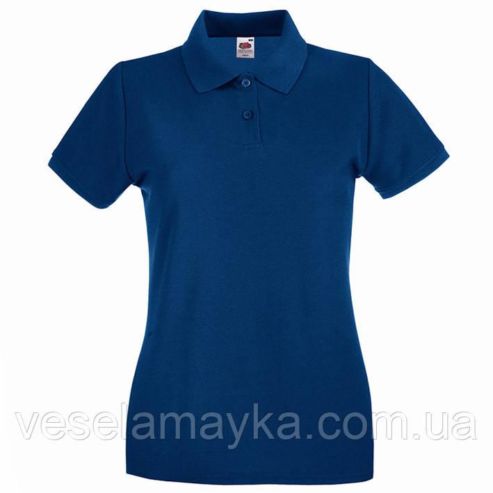 Темно-синя жіноча футболка поло (Преміум)
