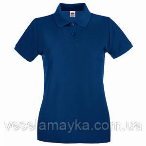 Темно-синяя женская футболка поло (Премиум)
