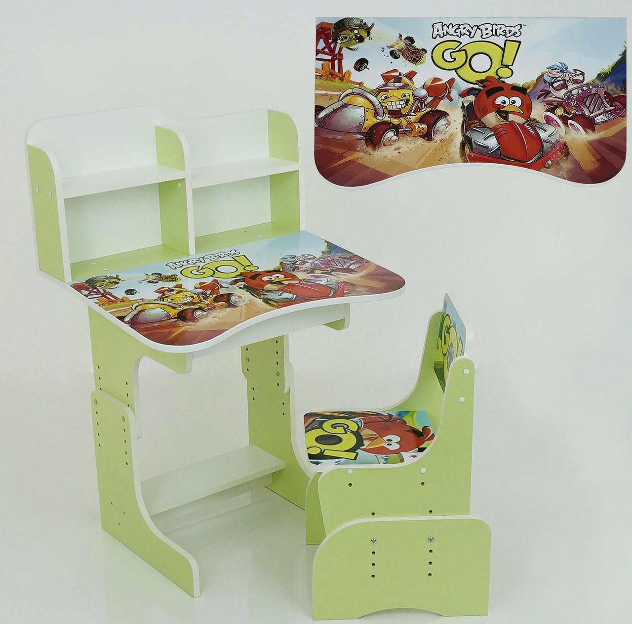 """Парта растишка шкільна """"Angry Birds"""" колір салатовий"""