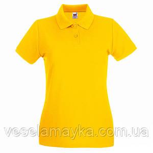 Желтая женская футболка поло (Премиум)