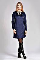 Модное женское платье свободного силуэта с длинным рукавом
