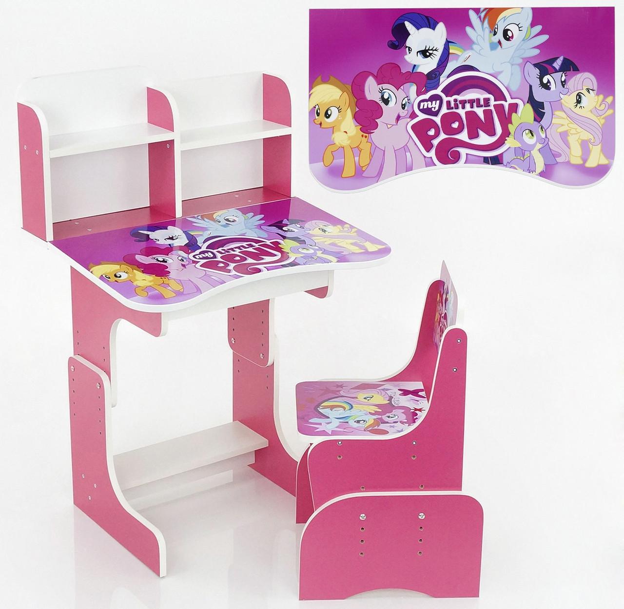 Парта растишка шкільна Pony 018 рожева