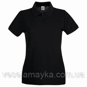 Черная женская футболка поло (Премиум)