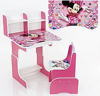 Парта растишка школьная Микки Маус розовый 016