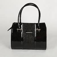 Черная лаковая сумочка с вставкой кожы питона М62-14/лак