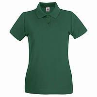 Темно-зеленая женская футболка поло (Премиум)