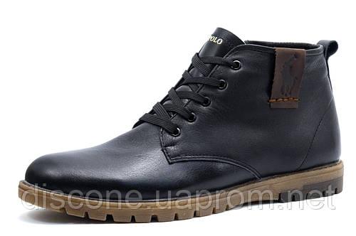 Зимние ботинки на меху US POLO, мужские, натуральная кожа, черные