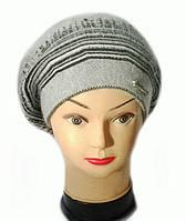 Берет женский вязаный Тина шерсть натуральная цвет серый светлый