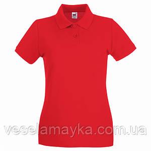 Красная женская футболка поло (Премиум)