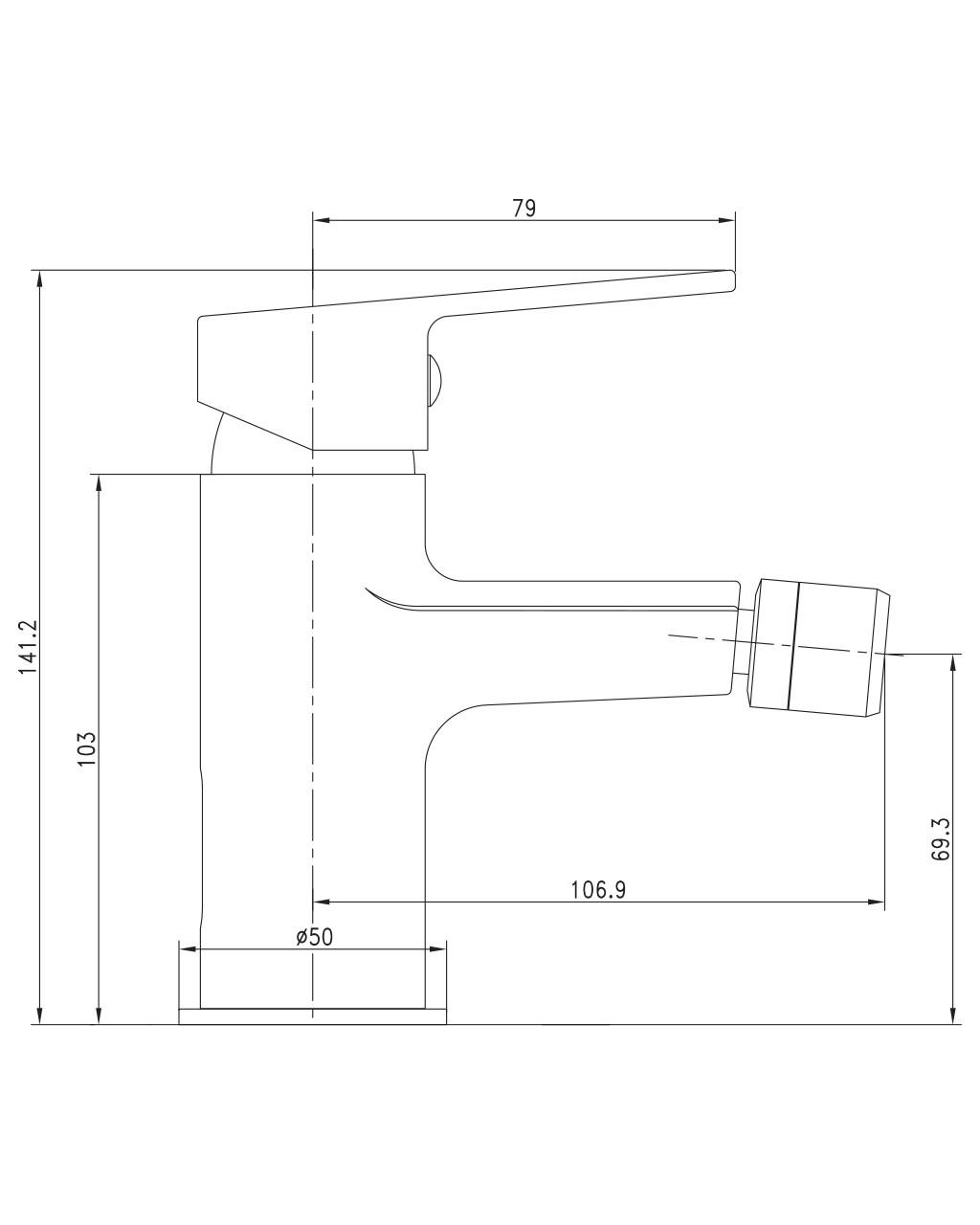 LASKA cмеситель для биде, сатин, 35 мм