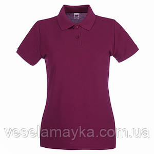 Бордовая женская футболка поло (Премиум)