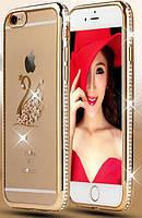 Силиконовый чехол золотой со стразами Лебедь для iPhone 6/iPhone 6S