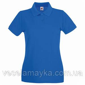 Синяя женская футболка поло (Премиум)